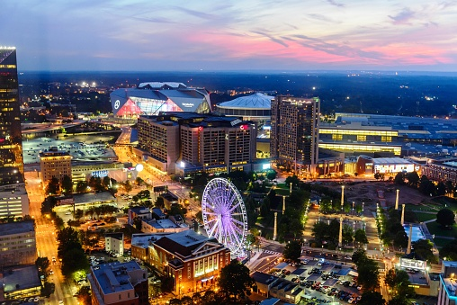 Downtown Cityscape Of Atlanta Georgia Centennial Park August 22 2017 Stock Photo - Download Image Now