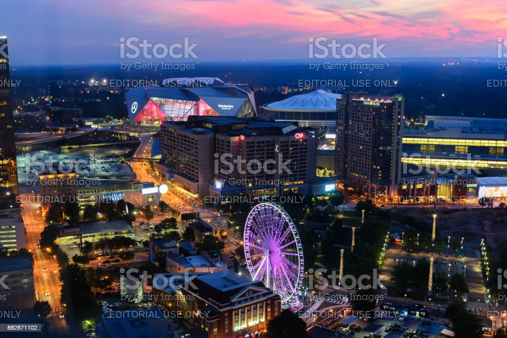downtown cityscape of Atlanta, Georgia,  Centennial Park, August 22, 2017 stock photo