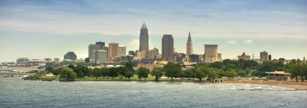 Downtown Cleveland city panorama skyline in Ohio USA stock photo