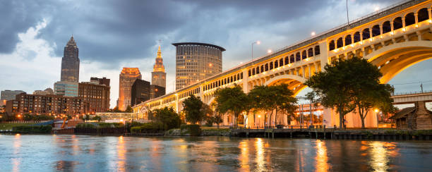 Downtown Cleveland city skyline in Ohio USA stock photo