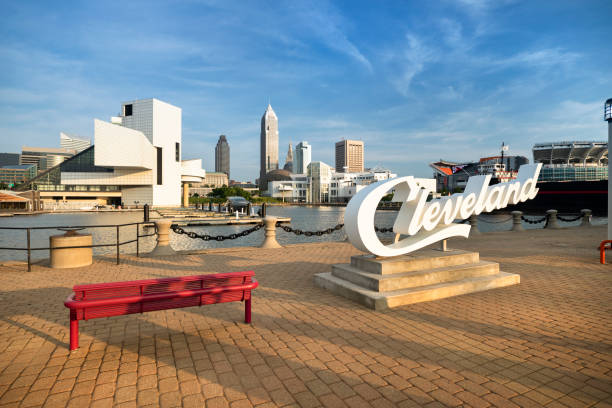 Downtown Cleveland City Skyline in Ohio USA – Foto