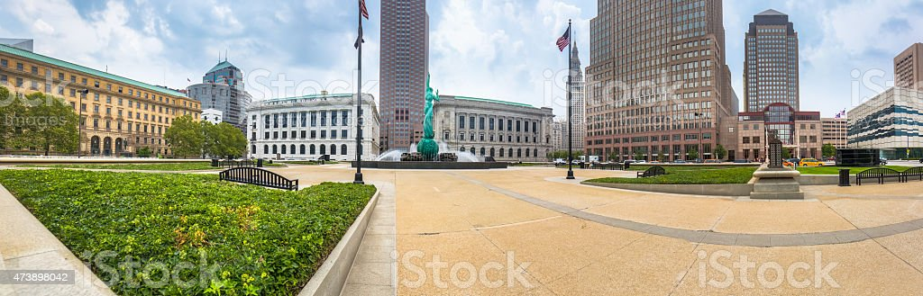 Downtown Cleveland Mall Panorama stock photo