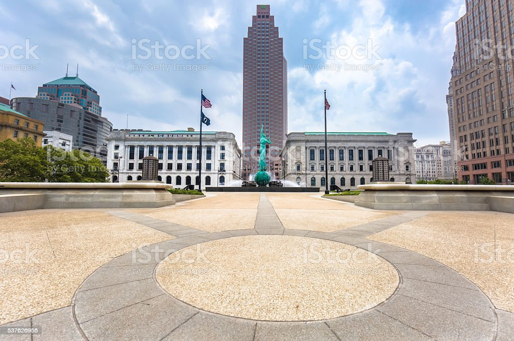 Downtown Cleveland Mall with Fountain of Eternal Life stock photo
