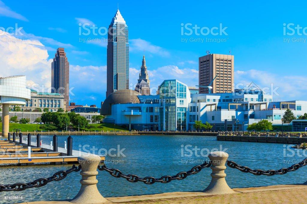 Downtown Cleveland Ohio Skyline stock photo