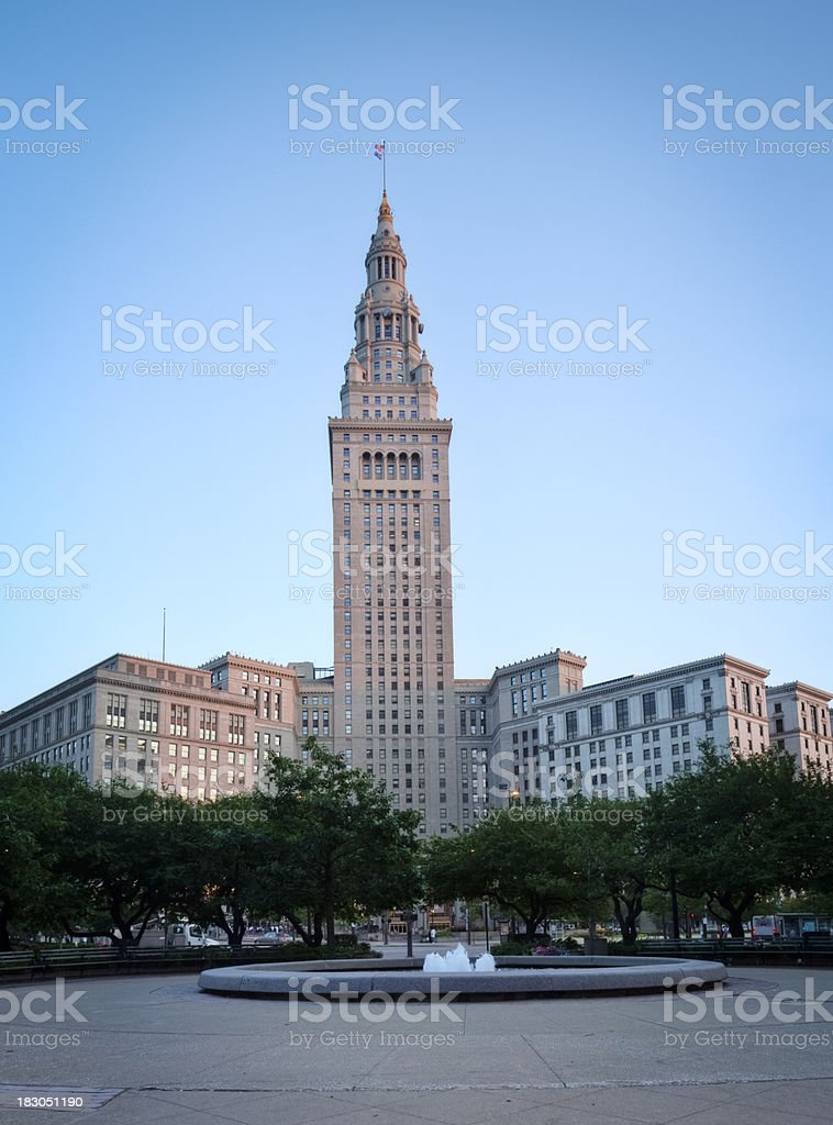 Downtown Cleveland's Tower City and Public Square with Fountain stock photo