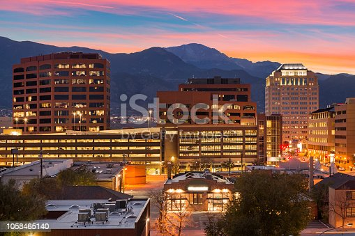 Amazing view of downtown Colorado Springs with the famous Pikes Peak in the background