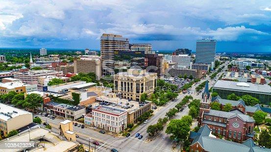 Drone aerial panorama of downtown Columbia South Carolina SC.