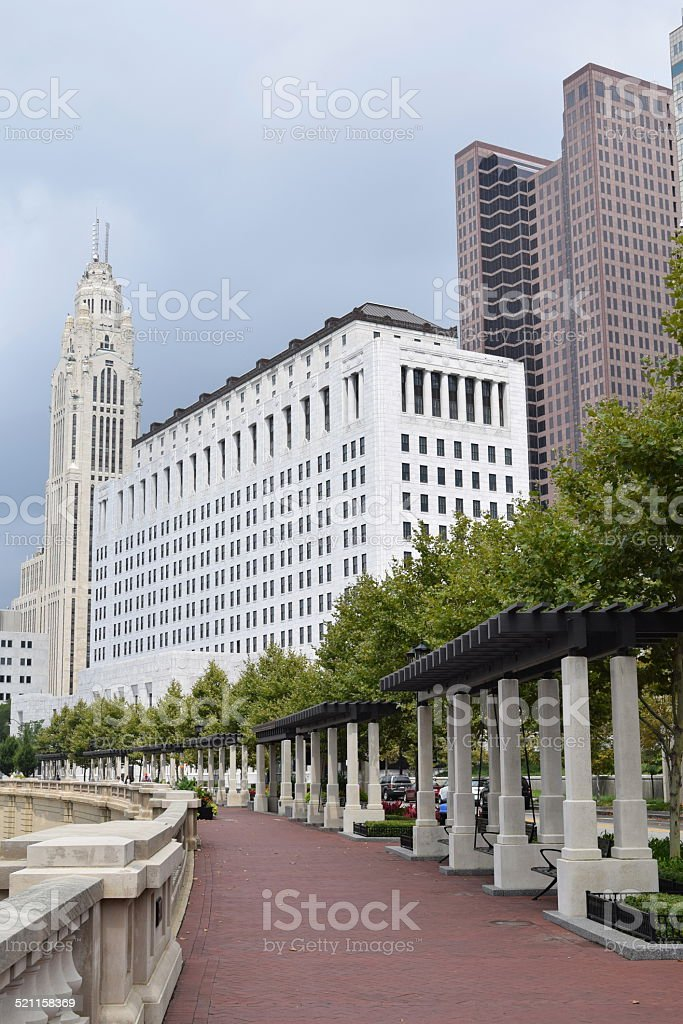 Downtown Columbus Ohio During a Rainstorm stock photo
