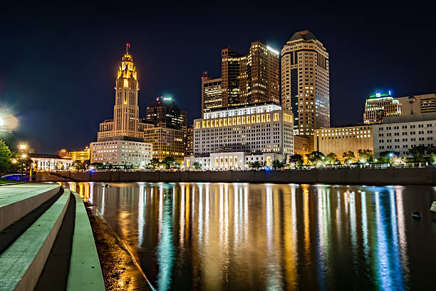 Downtown Columbus Ohio Scioto Riverfront Cityscape Light Reflections HDR stock photo