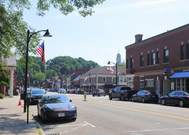 Downtown Concord MA. stock photo