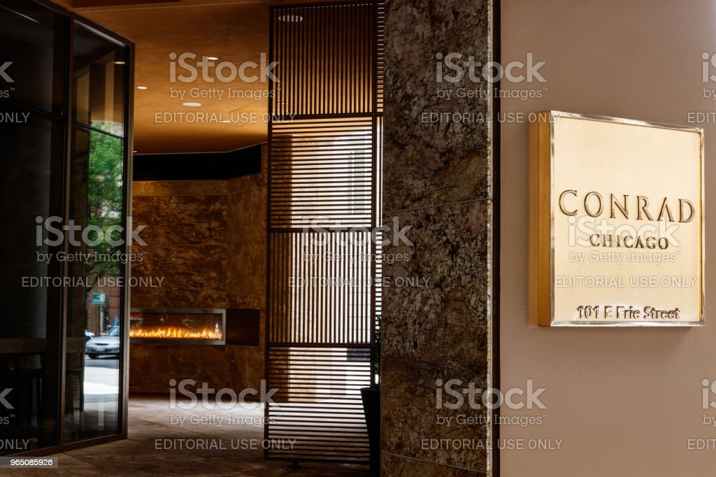 Downtown Conrad Hotel Location. The Conrad is the luxury hotel brand owned by Hilton Worldwide III royalty-free stock photo
