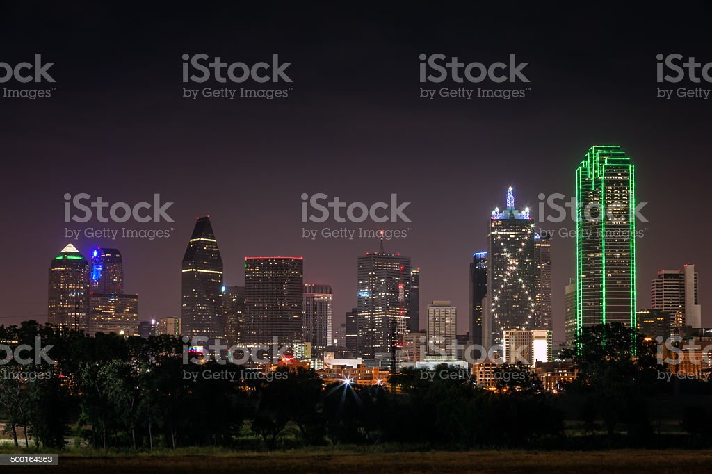 Downtown Dallas Skyline at Night stock photo