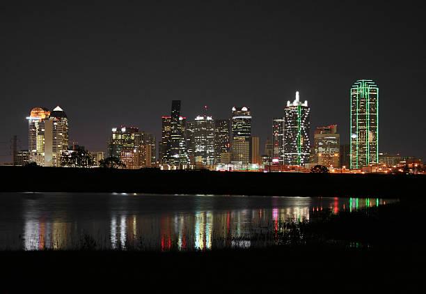 Downtown Dallas, Texas at Night stock photo