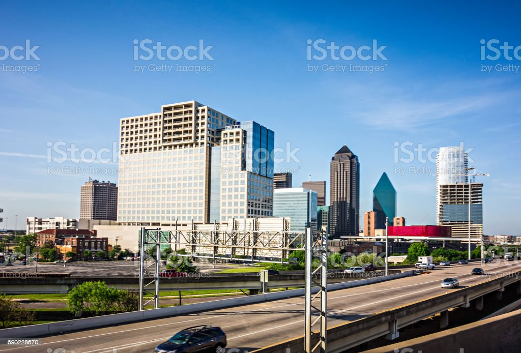 downtown dallas texas city skyline and surroundings royalty-free stock photo