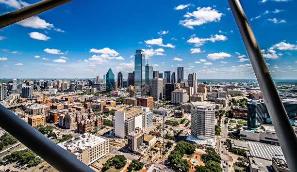 downtown dallas texas city skyline city cityscape day time stock photo