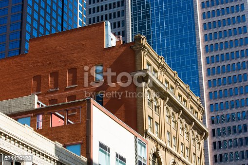 istock Downtown Dallas Texas mid-level view of office buildings 524426123