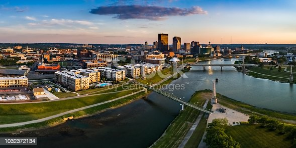 Looking over Deeds Park at the fountains toward downtown Dayton.  This is an aerial panorama via drone
