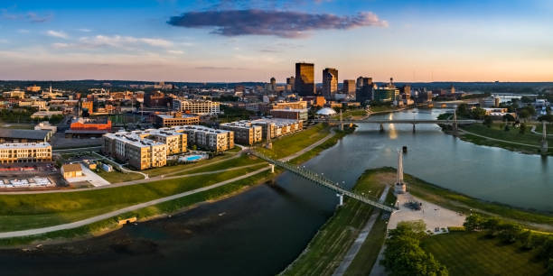 Downtown Dayton Sunset Panorama Looking over Deeds Park at the fountains toward downtown Dayton.  This is an aerial panorama via drone ohio stock pictures, royalty-free photos & images