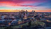istock Downtown Denver, Colorado, USA Drone Skyline Aerial Panorama 1204020608