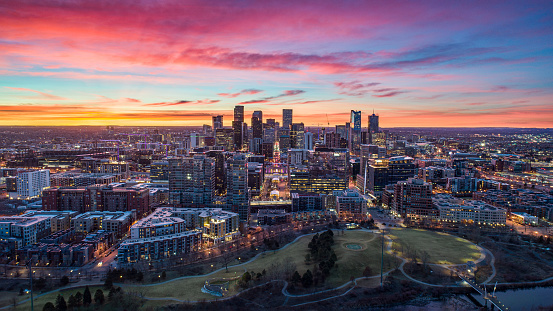 Downtown Denver, Colorado, USA Drone Skyline Aerial Panorama.