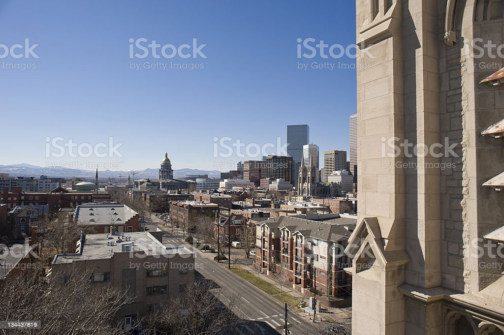 Downtown Denver Colorado with State Capitol Building stock photo