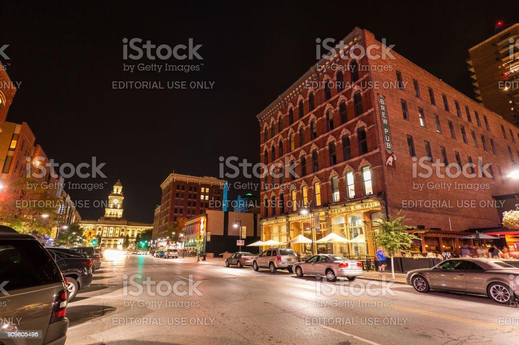 Downtown Des Moines, Iowa at night. stock photo