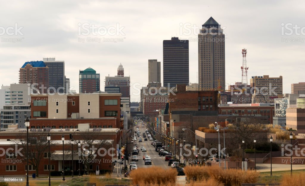 Downtown Des Moines Iowa Midwest Big City Main Street stock photo