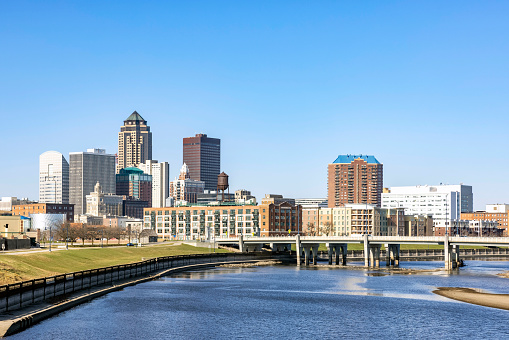 Downtown Des Moines Skyline and the Des Moines River at Daytime.