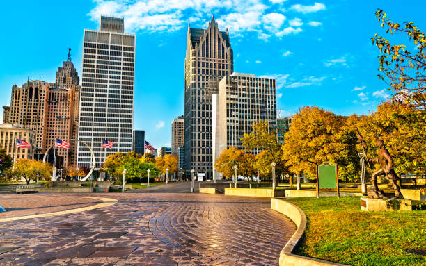 Downtown Detroit from Hart Plaza. USA stock photo