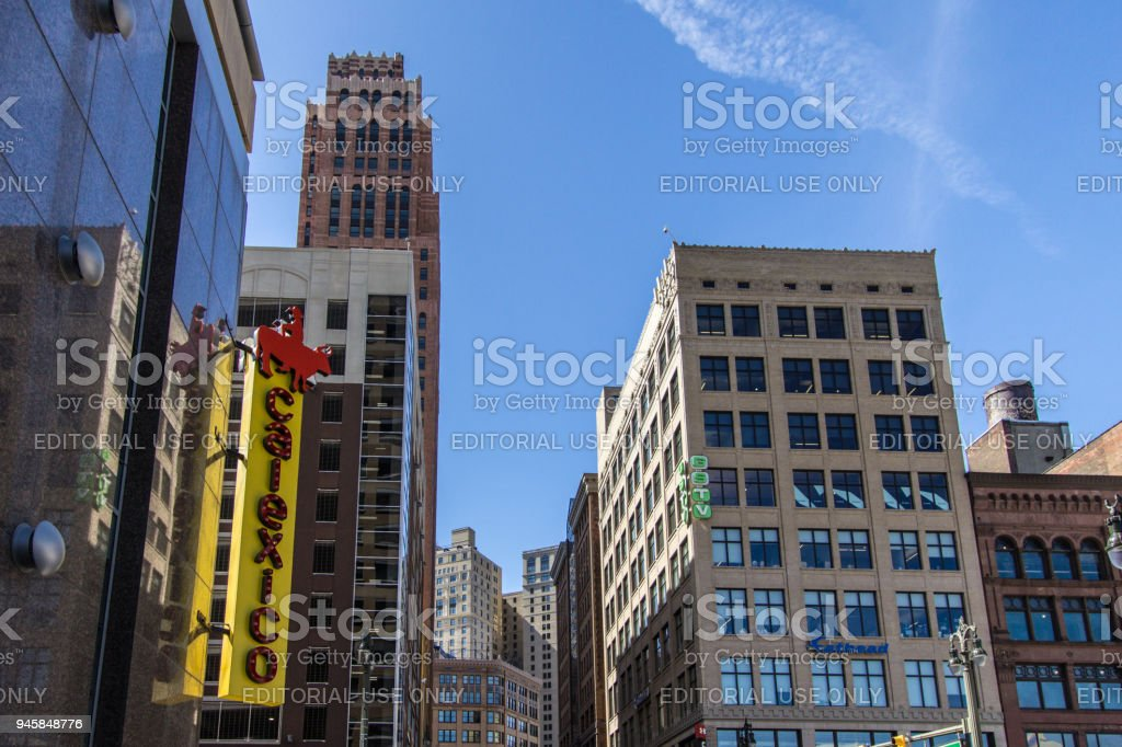 Downtown Detroit Michigan Cityscape With Calexico Restaurant In Foreground stock photo