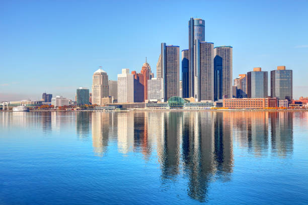 Downtown Detroit Michigan Skyline Detroit is the largest city in the state of Michigan and the seat of Wayne County. Detroit is a major port city on the Detroit River known as  birthplace of the automotive industry and an important source of popular music legacies detroit michigan stock pictures, royalty-free photos & images