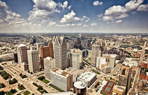 Downtown Detroit Aerial view of abandoned downtown of Detroit, Michigan detroit michigan stock pictures, royalty-free photos & images