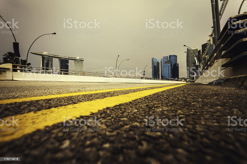 Downtown District and Urban Road in Singapore royalty-free stock photo