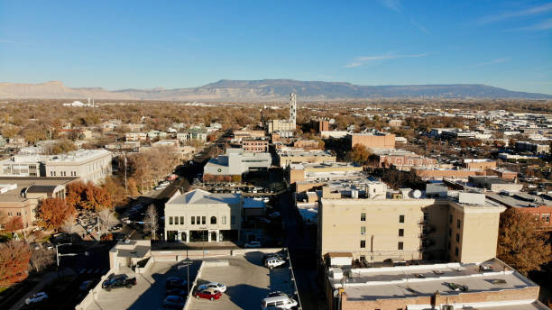 Downtown District in a Small Colorado Town stock photo