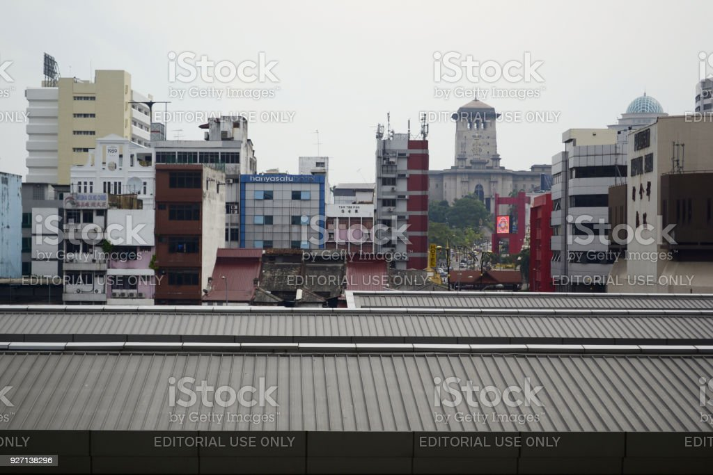 Downtown district with office buildings in Johor Bahru stock photo