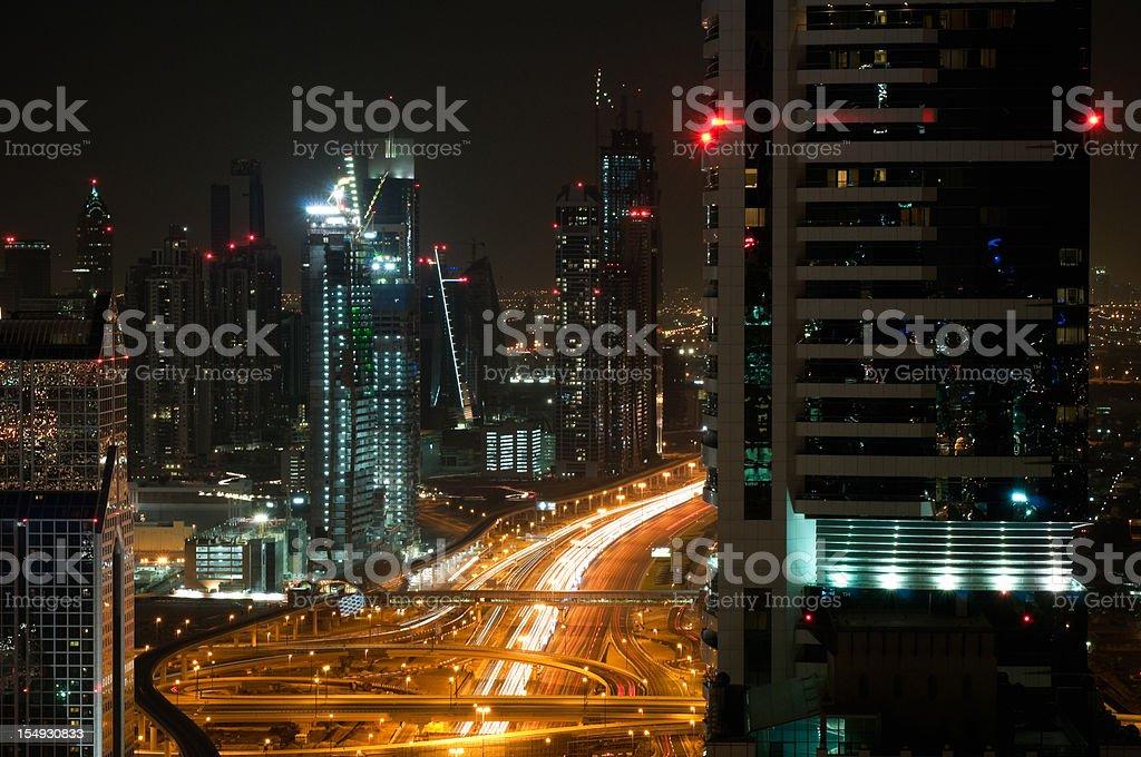 Downtown Dubai at night royalty-free stock photo