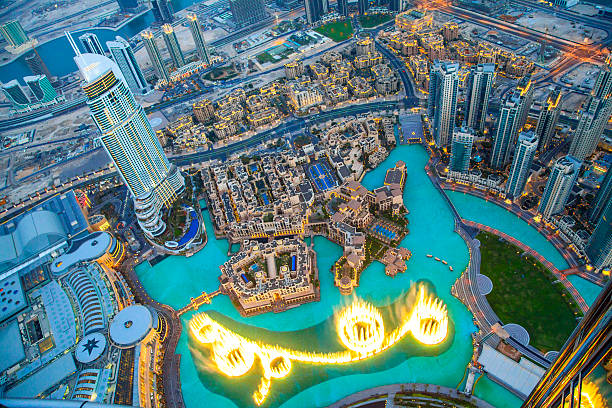 Downtown Dubai at night. Downtown Dubai at night. burj khalifa stock pictures, royalty-free photos & images