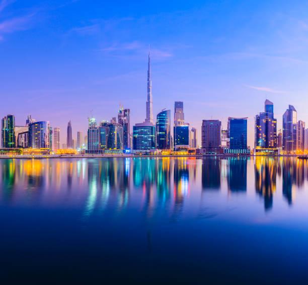 Downtown Dubai City Skyline and Business Park at Sunset, United Arab Emirates. stock photo