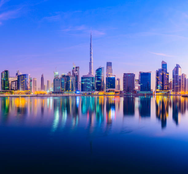 Downtown Dubai City Skyline and Business Park at Sunset, United Arab Emirates. stock photo