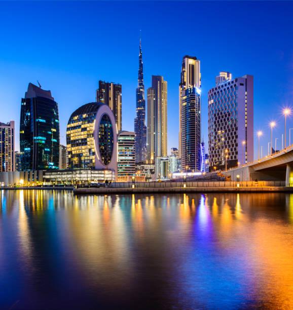 Downtown Dubai City Skyline and Business Park at Sunset, United Arab Emirates stock photo
