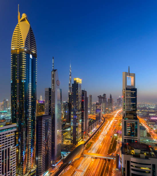 Downtown Dubai City Skyline at Sunset, United Arab Emirates. stock photo
