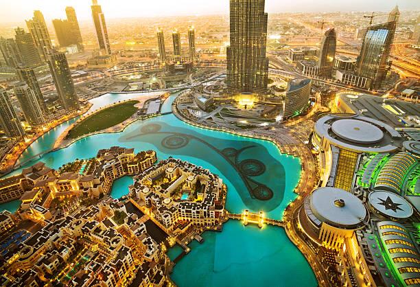 Downtown Dubai Dubai Skyscraper and Burj Khalifa, United Arab Emirates burj khalifa stock pictures, royalty-free photos & images