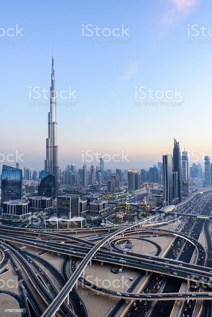 Downtown Dubai with Burj Khalifa and Sheikh Zayed Road stock photo