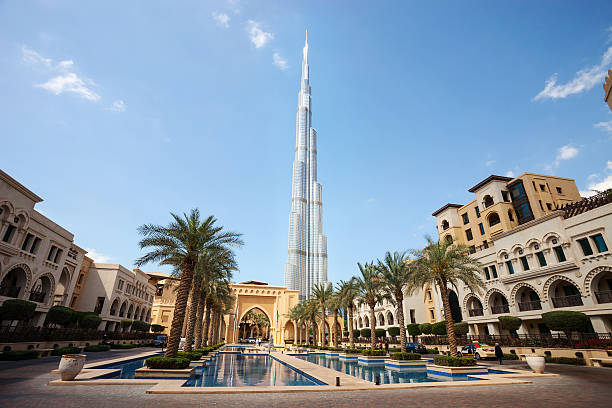 Downtown Dubai with Burj Khalifa in the background stock photo