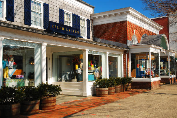 downtown east hampton - charming stock photos and pictures