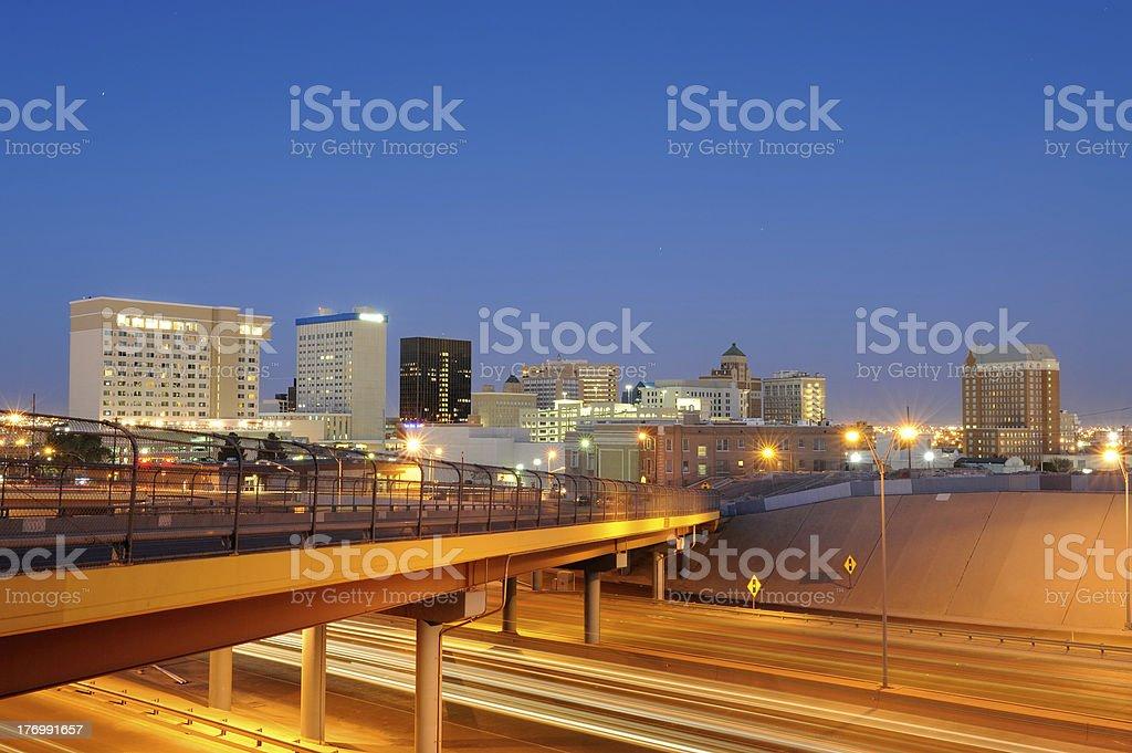 Downtown El Paso Texas at Dusk royalty-free stock photo