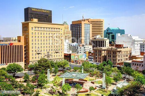 El Paso, Texas, USA - April 17, 2018: Daytime view of the downtown financial district in the sixth biggest city in Texas and the 19th most populous city in the U.S.