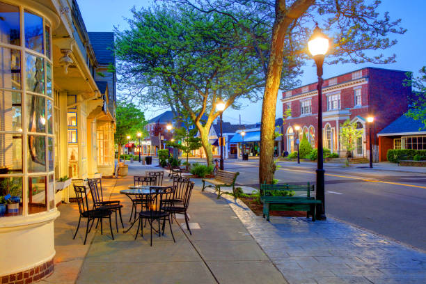 Downtown Falmouth on Cape Cod stock photo