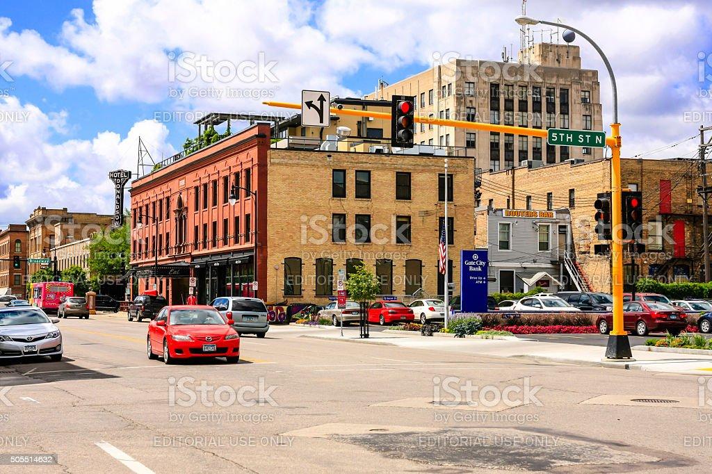Downtown Fargo city in North Dakota stock photo