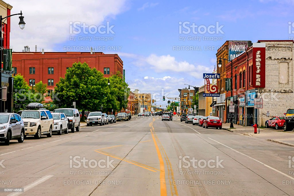 Downtown Fargo city in North Dakota stock photo